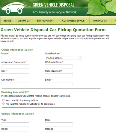 Green Vehicle Disposal Car Pickup Quotation Form